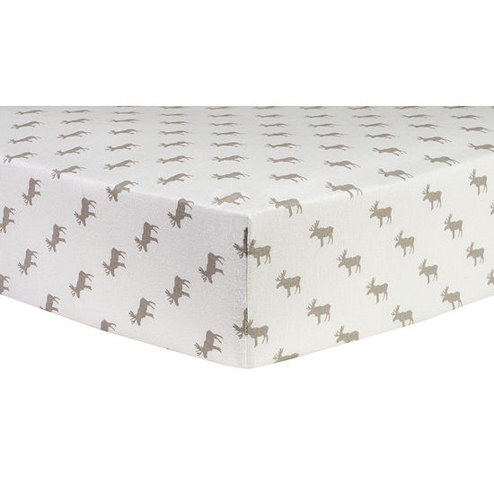 Trend Lab Moose Silhouettes Flannel 1 Pair Animals + Insects Crib Sheet