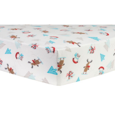 Trend Lab Frosty Fun Flannel 1 Pair Animals + Insects Crib Sheet