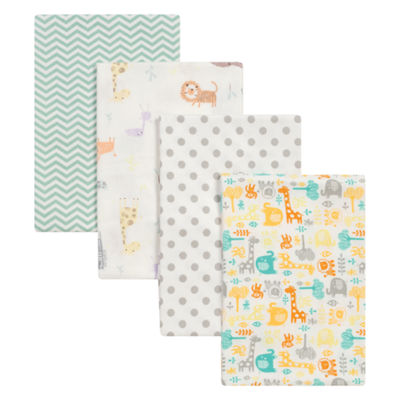 Trend Lab Mint Jungle Flannel 4-pc. Receiving Blanket
