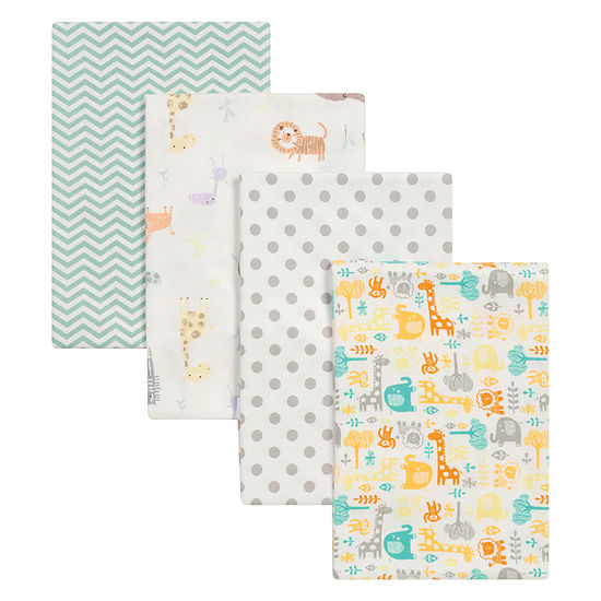 Trend Lab Mint Jungle Flannel 4 Pc Receiving Blanket