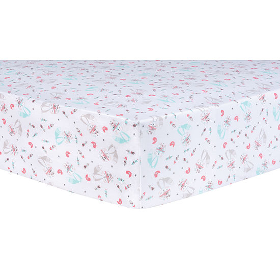 Trend Lab Fox And Flowers Fitted 1 Pair Animals + Insects Crib Sheet