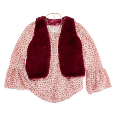 Beautees Bell Sleeve Top with Fur Vest and Necklace - Girls' 7-16