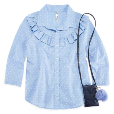 Beautees 3/4 Sleeve Button-Front Top with Necklace- Girls' 7-16