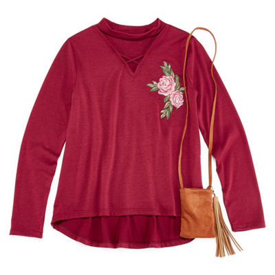 Beautees Long Sleeve Gigi Neck Floral Embroidered Top with Purse- Girls' 7-16