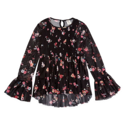 Arizona Long Sleeve Floral Mesh Top - Girls' 7-16 & Plus