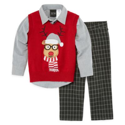 Toddler Boys TFW Red Reindeer Vest Set