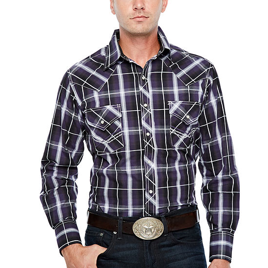 Ely Cattleman Long Sleeve Plaid Snap Western Shirt