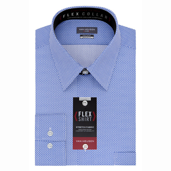 Van Heusen B&T Flex Collar Long Sleeve Woven Circles Dress Shirt