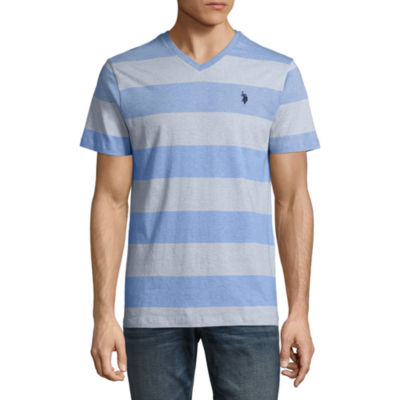 U.S. Polo Assn. Embroidered Short Sleeve Stripe Jersey Polo Shirt