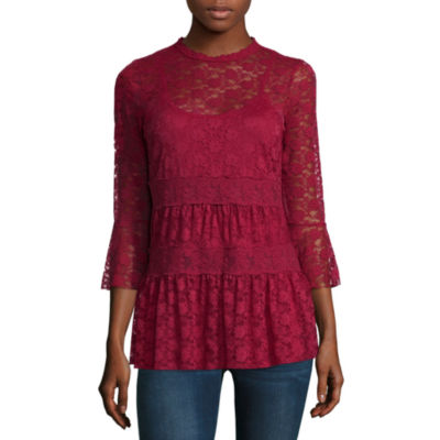 Almost Famous Long Sleeve Babydoll Top Juniors