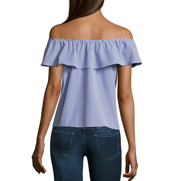 by&by Short Sleeve Scoop Neck Chambray Blouse-Juniors