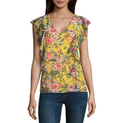 by&by Short Sleeve Scoop Neck Chiffon Blouse-Juniors