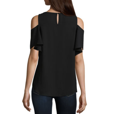 by&by Short Sleeve Crew Neck Crepe Blouse-Juniors