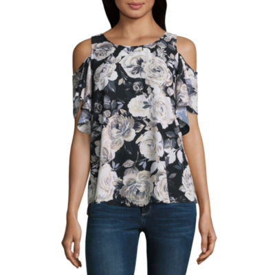 by&by Short Sleeve Crew Neck Satin Ruffled Blouse-Juniors