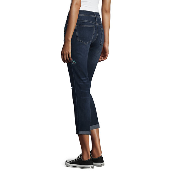 Hydraulic Sukajun Embroidered Roll Cuff Curvy Fit Jeans-Juniors