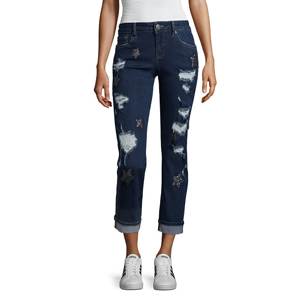 Rampage Roll Cuff Star Detail Cropped Jeans-Juniors