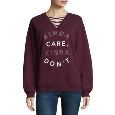"Kinda Care"" Sweatshirt-Juniors"