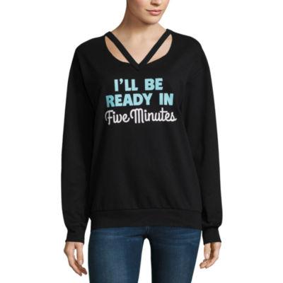 "Hybrid ""Ready in 5"" Destructed Sweatshirt-Juniors"
