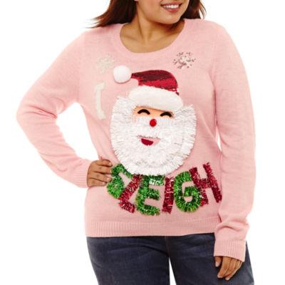 Ugly Christmas Santa Sweater-Juniors Plus