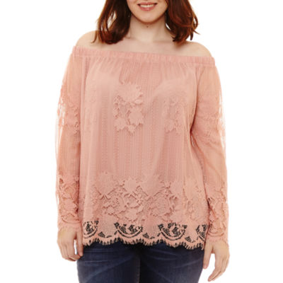 Arizona Lace Off Shoulder Top- Juniors Plus