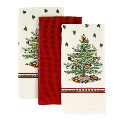Avanti Spode Red Christmas Tree 3-pc. Kitchen Towel