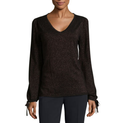 Worthington Long Sleeve V-Neck Lurex Pullover Sweater