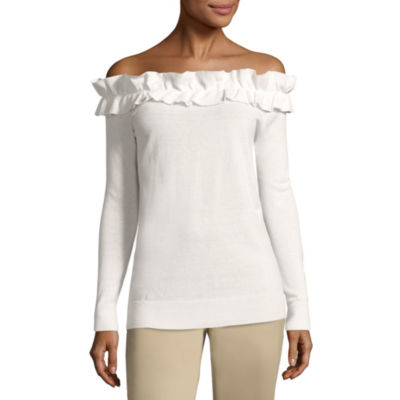 Worthington Long Sleeve Ruffle Off The Shoulder Sweater