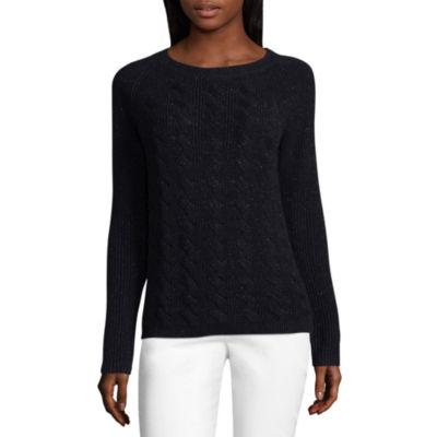 Liz Claiborne Long Sleeve Cable Metallic Sweater