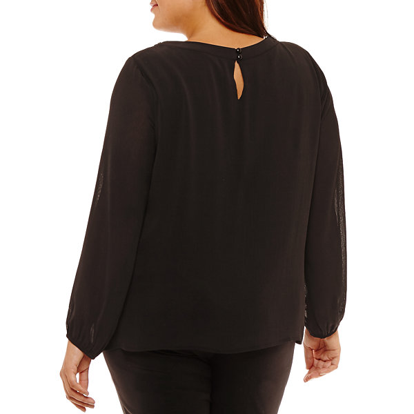 Alyx Long Sleeve Round Neck Chiffon Blouse-Plus
