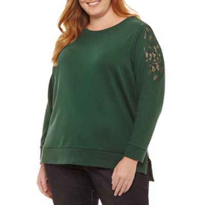 St. John's Bay Long Sleeve Lace Cold Shoulder Sweatshirt-Plus