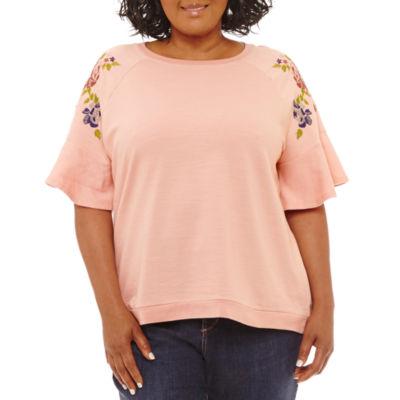 St. John's Bay Embroidered Flutter Sleeve Sweatshirt-Plus