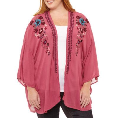St. John's Bay 3/4 Sleeve Floral Embroidery Kimono - Plus