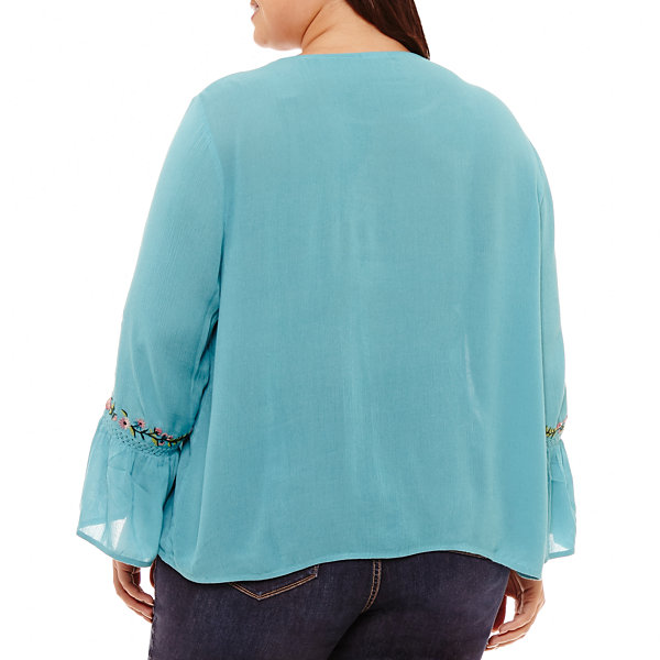 St. John's Bay 3/4 Sleeve Inset Lattice Embroidered Blouse - Plus