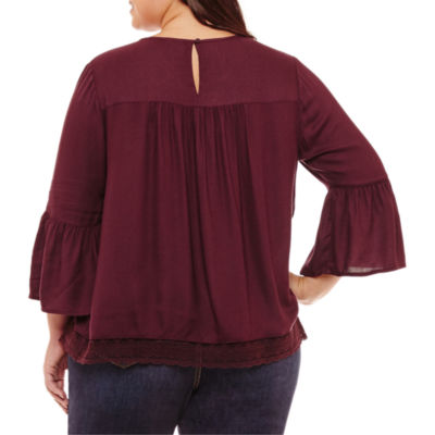 St. John's Bay 3/4 Sleeve Scoop Neck Embroidered Blouse-Plus