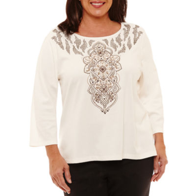 Alfred Dunner Jungle Habitat 3/4 Sleeve Crew Neck T-Shirt-Womens Plus