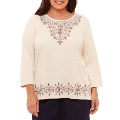 Alfred Dunner Gypsy Moon 3/4 Sleeve Scroll T-Shirt- Plus