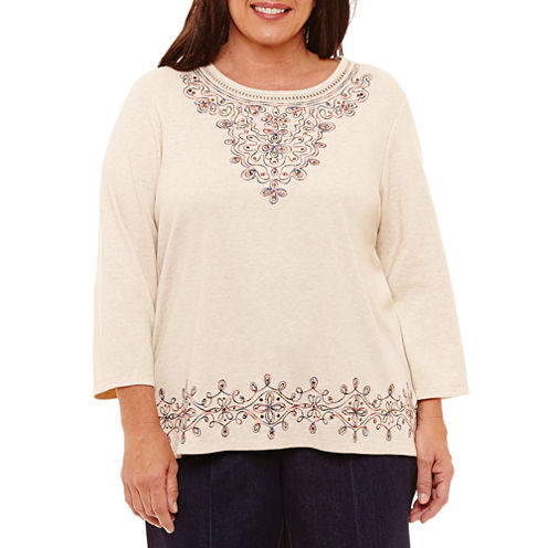 Alfred Dunner Gypsy Moon 3/4 Sleeve Crew Neck T-Shirt-Womens Plus