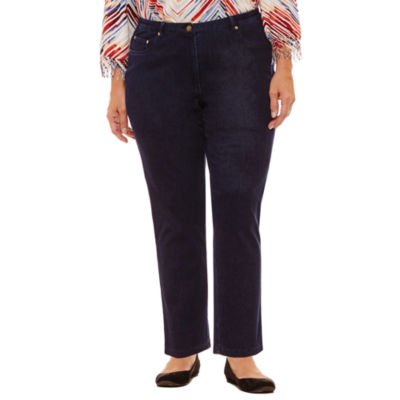 Alfred Dunner Gypsy Moon Knit Denim 5 Pocket Pants-Plus