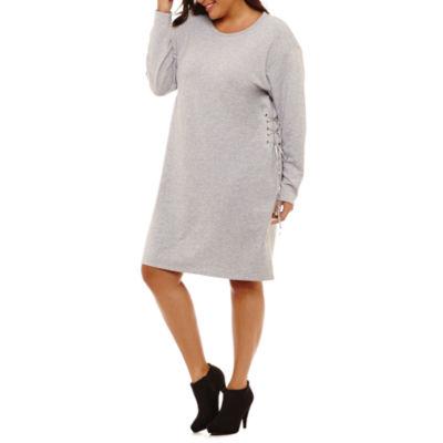 Project Runway Long Sleeve Sweater Dress-Plus