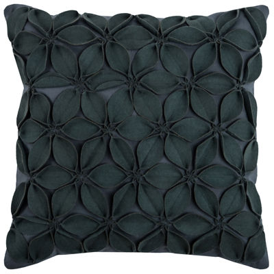 "Rizzy Home Petals Floral Shape Square Throw Pillow- 18"" x 18"