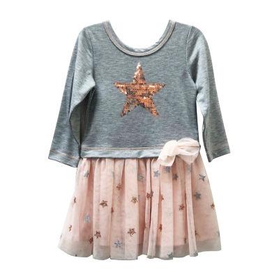 Lilt Long Sleeve Skater Dress - Toddler Girls