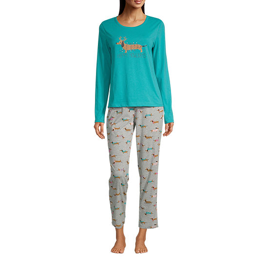 Sleep Chic Womens-Tall Long Sleeve Pant Pajama Set 2-pc.