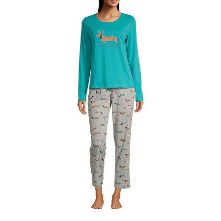 Sleep Chic Womens-Tall Long Sleeve Pant Pajama Set 2-pc., Small Tall , Blue