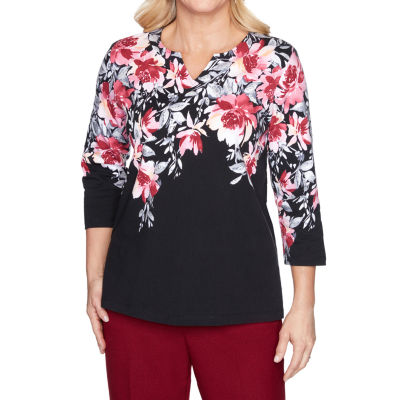 Alfred Dunner Madison Avenue Womens Split Crew Neck 3/4 Sleeve Knit Embellished Blouse