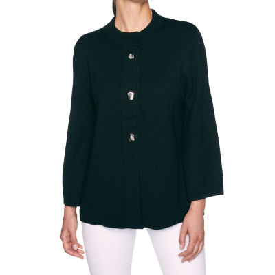 Alfred Dunner Madison Avenue Womens 3/4 Sleeve Button Cardigan