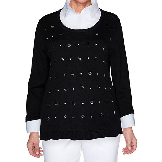 Alfred Dunner Madison Avenue Womens Long Sleeve Layered Sweaters