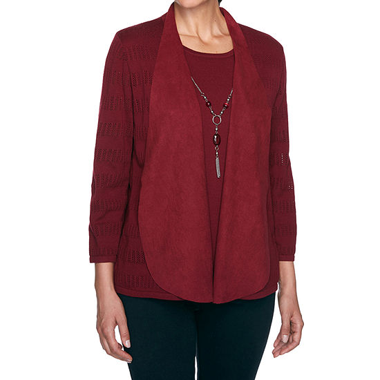 Alfred Dunner Madison Avenue Womens 3/4 Sleeve Layered Sweaters