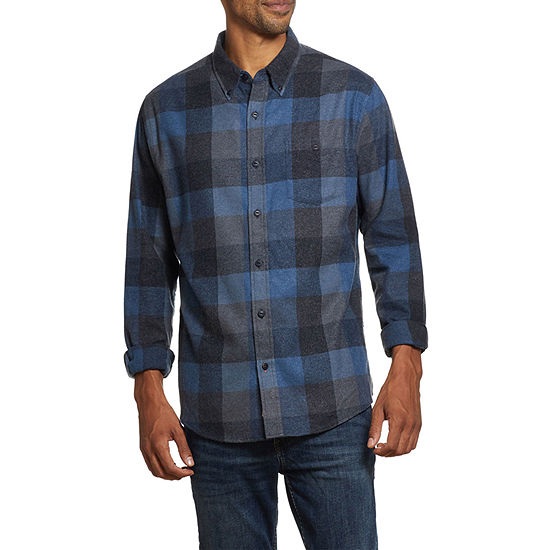 American Threads Heathered Flannel Mens Long Sleeve Plaid Button-Down Shirt