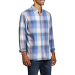American Threads Mens Long Sleeve Plaid Button-Down Shirt