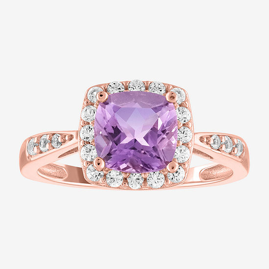Limited Time Special!! Womens Genuine Purple Amethyst 14K Rose Gold Over Silver Cocktail Ring